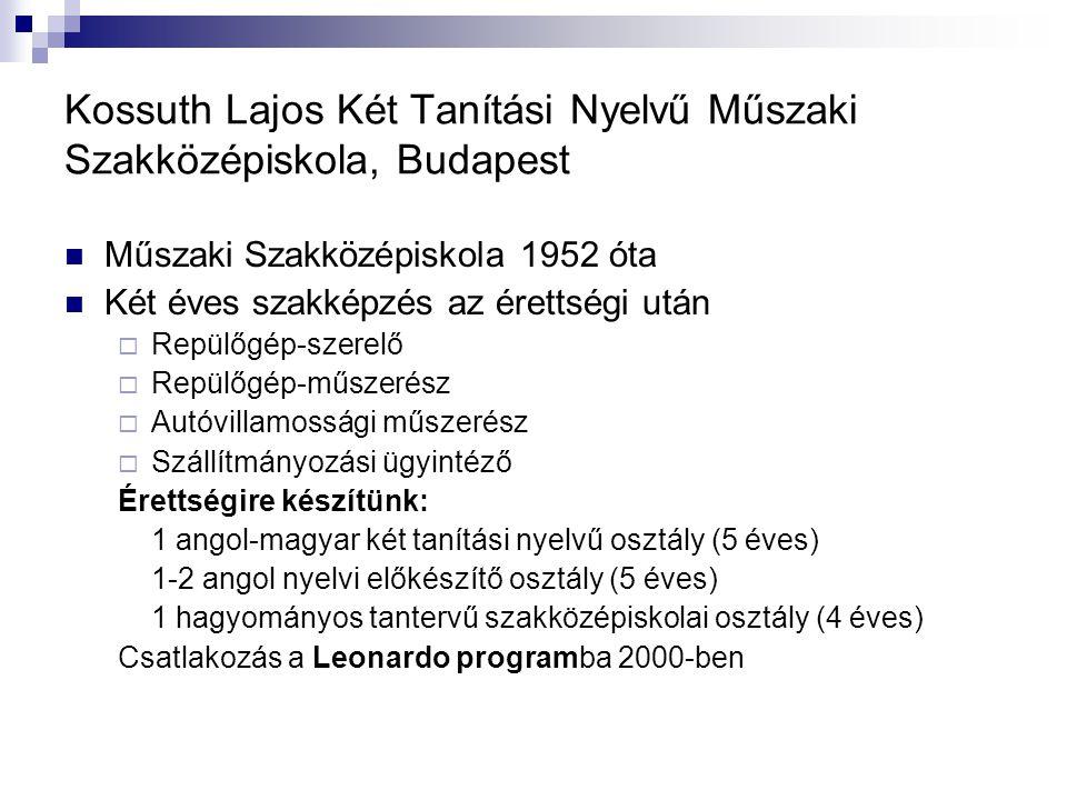 Kossuth Lajos Két Tanítási Nyelvű Műszaki Szakközépiskola, Budapest