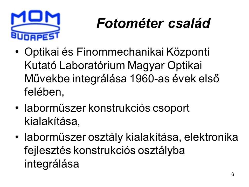 Fotométer család Optikai és Finommechanikai Központi Kutató Laboratórium Magyar Optikai Művekbe integrálása 1960-as évek első felében,