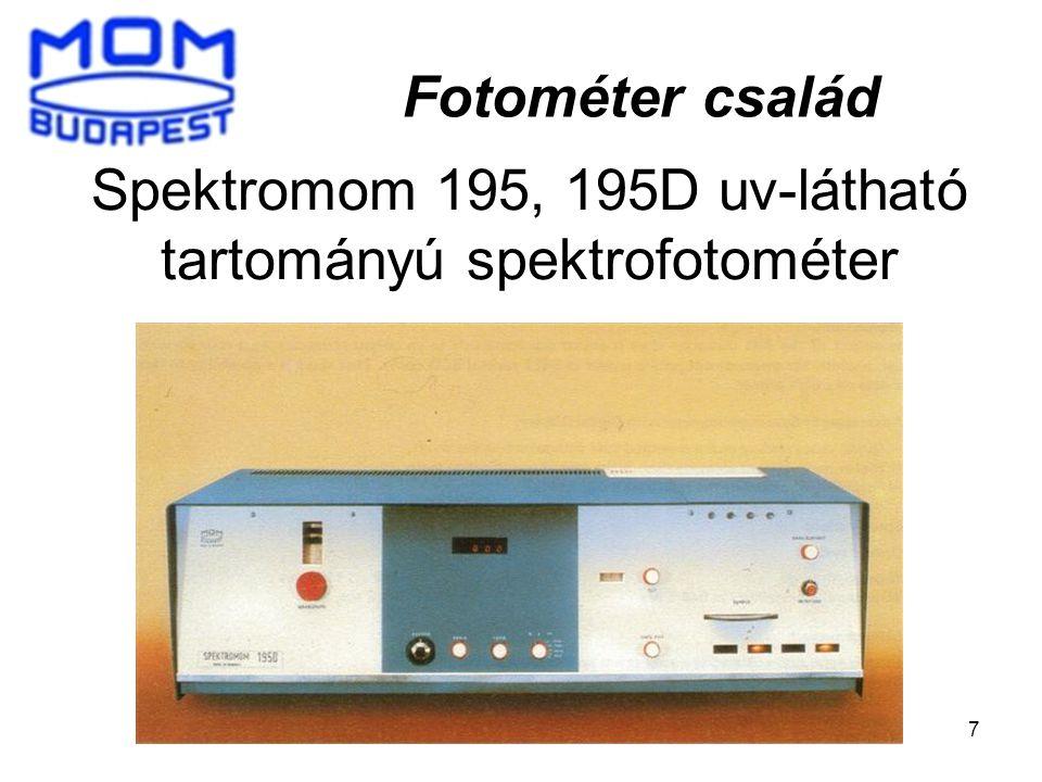 Spektromom 195, 195D uv-látható tartományú spektrofotométer