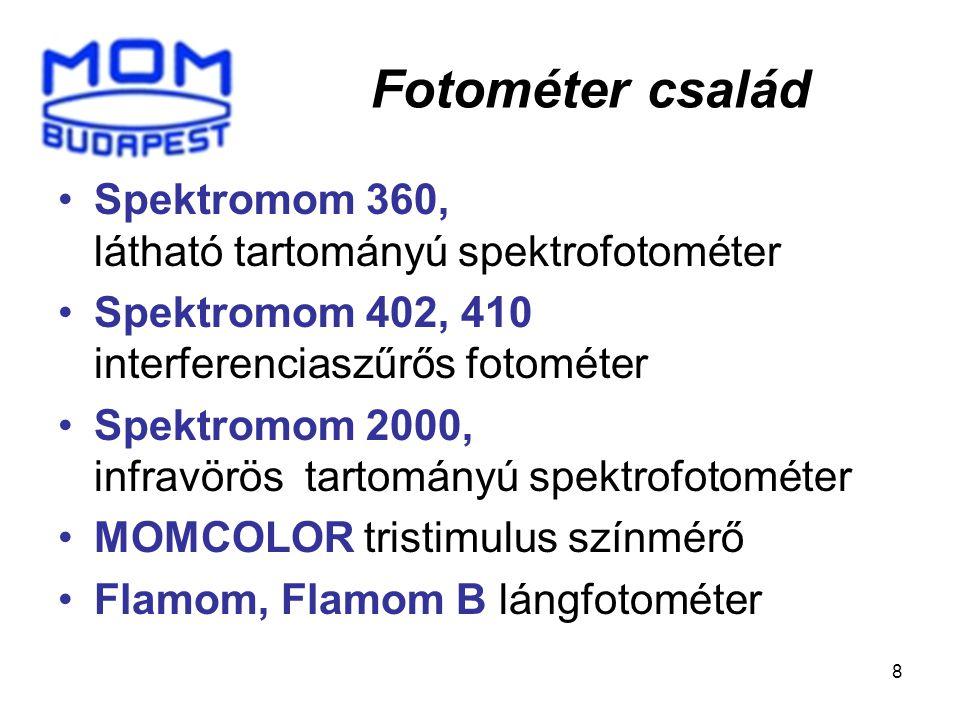 Fotométer család Spektromom 360, látható tartományú spektrofotométer