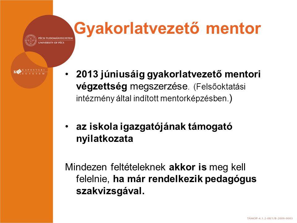 Gyakorlatvezető mentor