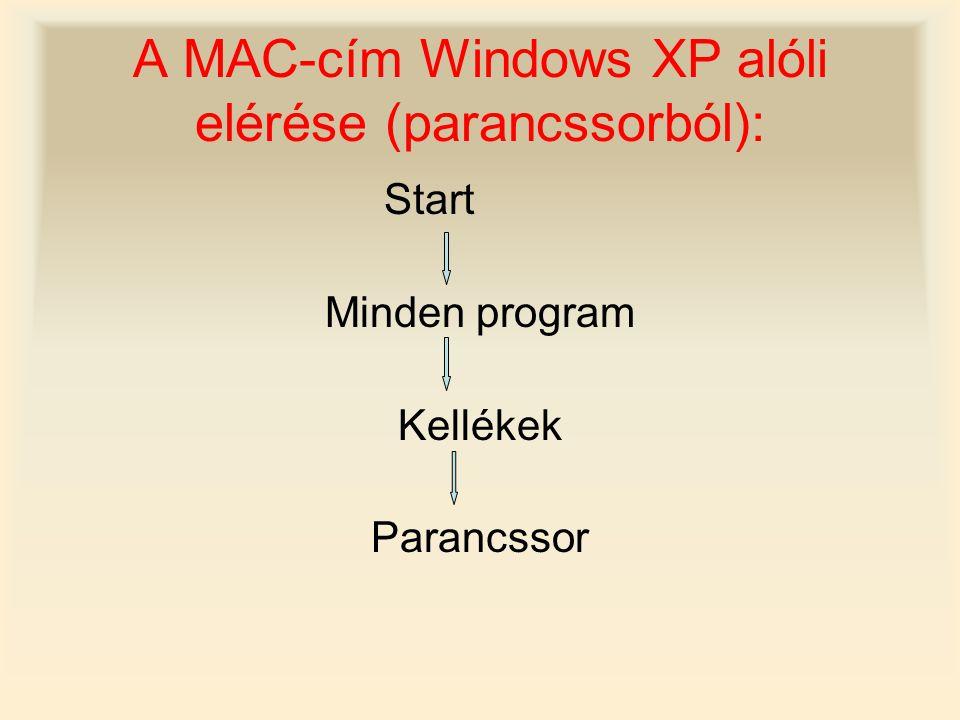 A MAC-cím Windows XP alóli elérése (parancssorból):