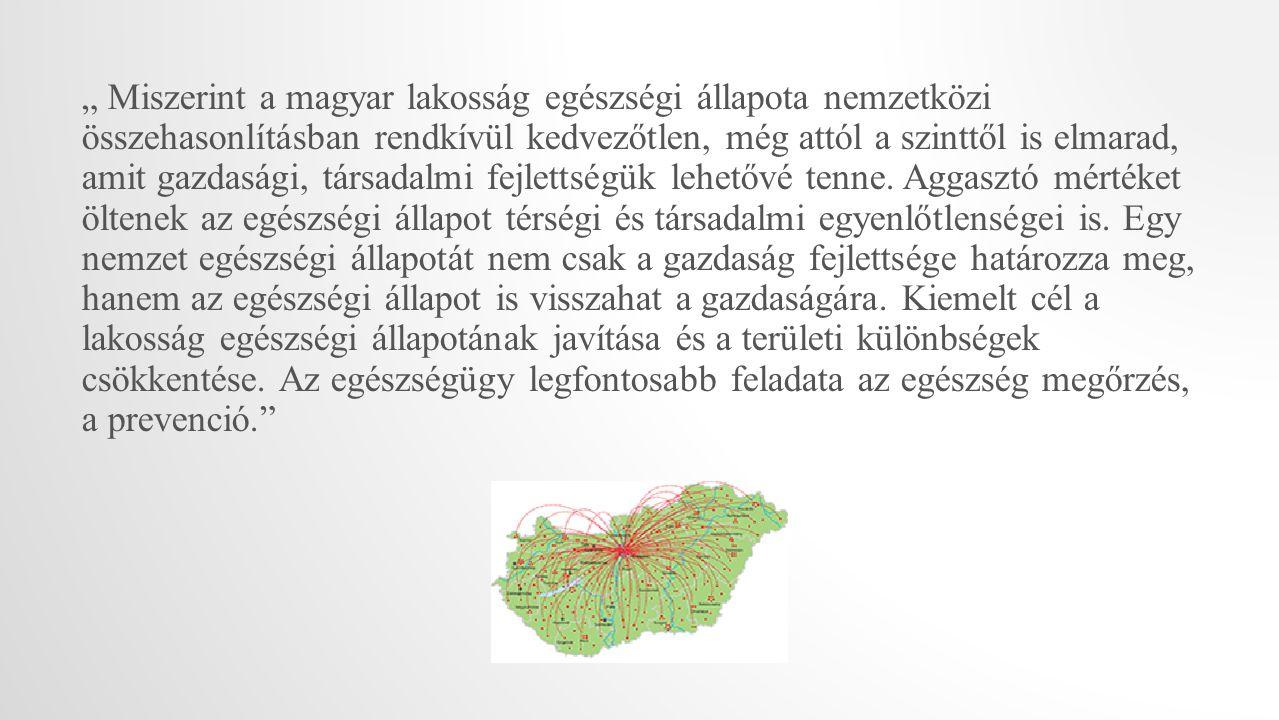 """"""" Miszerint a magyar lakosság egészségi állapota nemzetközi összehasonlításban rendkívül kedvezőtlen, még attól a szinttől is elmarad, amit gazdasági, társadalmi fejlettségük lehetővé tenne."""