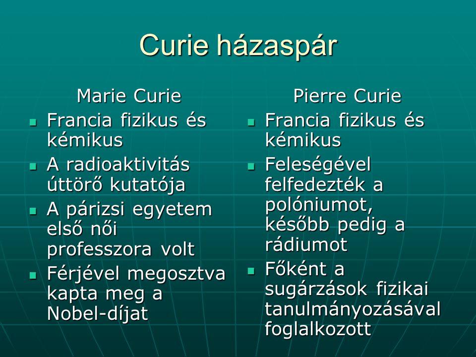 Curie házaspár Marie Curie Francia fizikus és kémikus