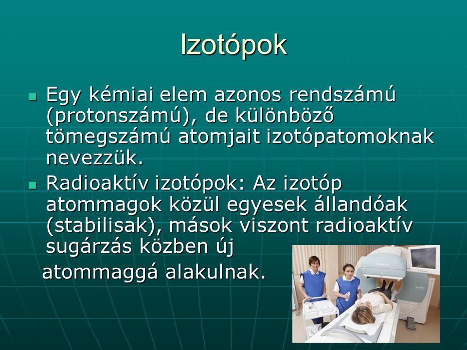 Izotópok Egy kémiai elem azonos rendszámú (protonszámú), de különböző tömegszámú atomjait izotópatomoknak nevezzük.