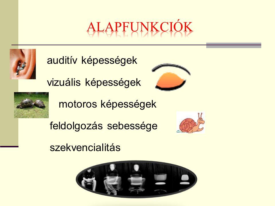 ALAPFUNKCIÓK auditív képességek vizuális képességek motoros képességek