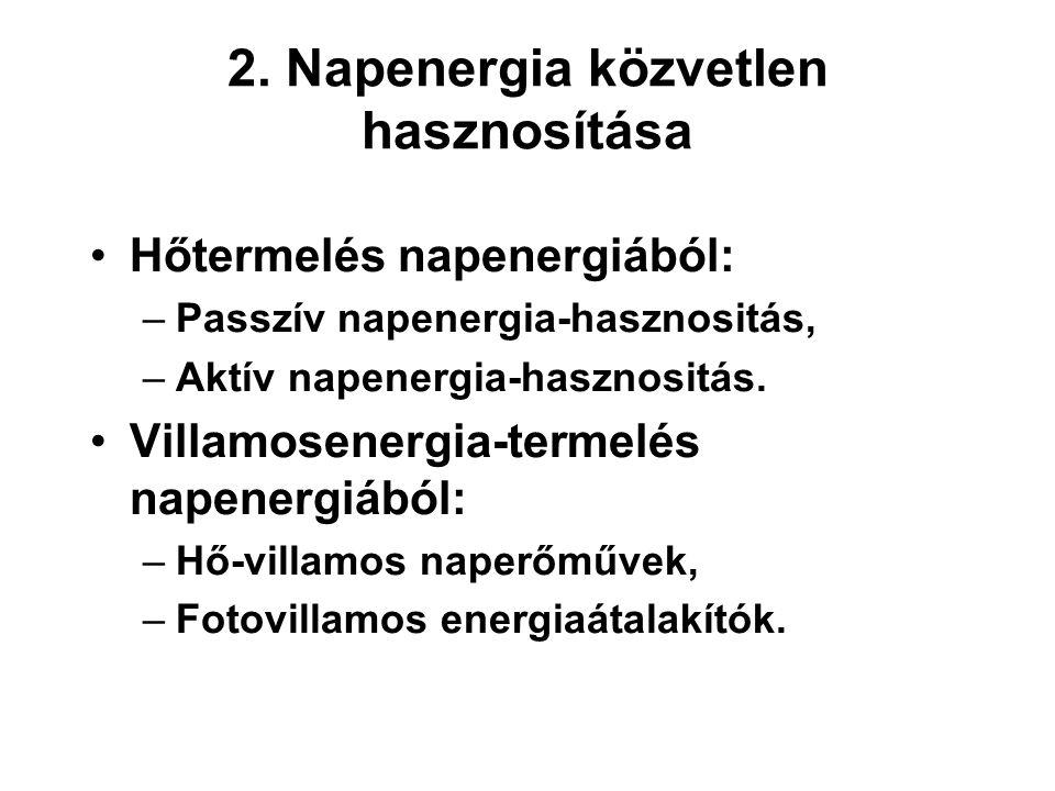 2. Napenergia közvetlen hasznosítása