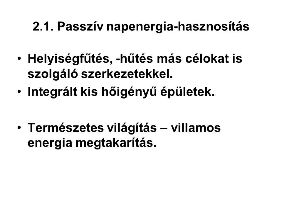 2.1. Passzív napenergia-hasznosítás