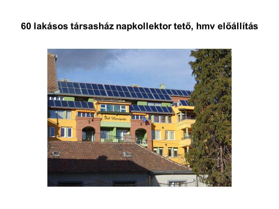 60 lakásos társasház napkollektor tető, hmv előállítás
