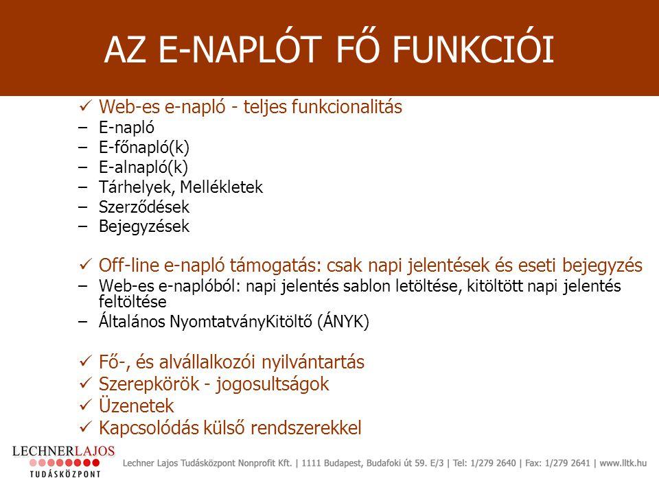 AZ E-NAPLÓT FŐ FUNKCIÓI