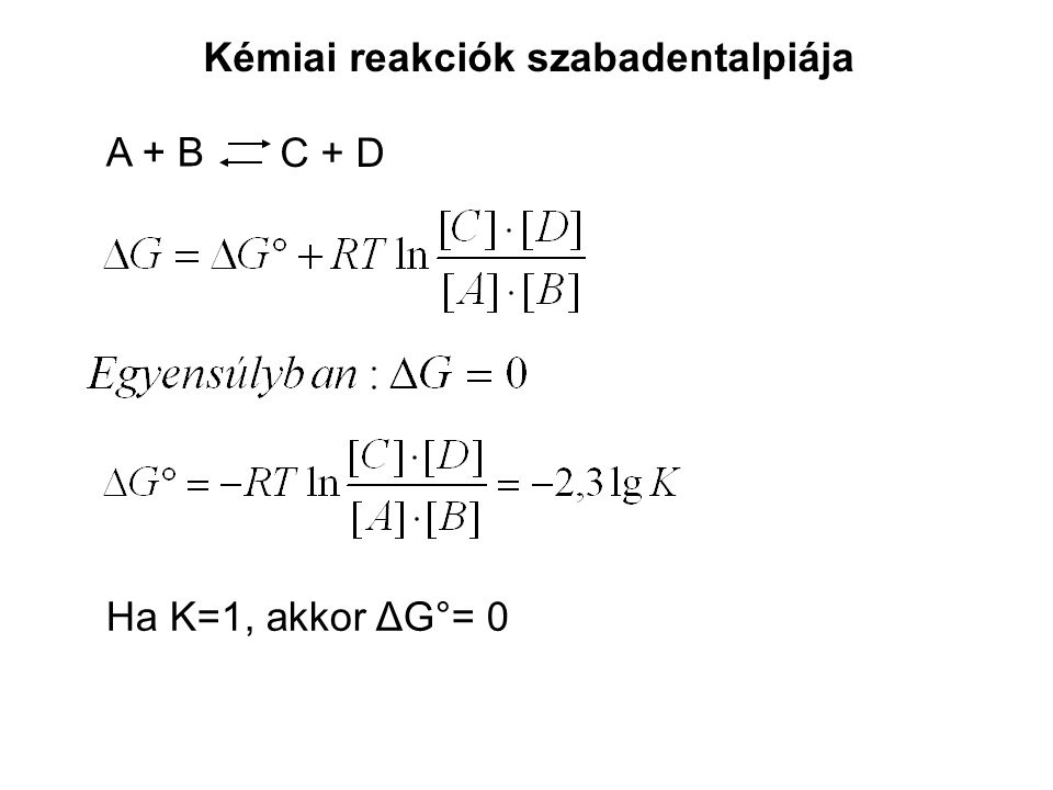 Kémiai reakciók szabadentalpiája