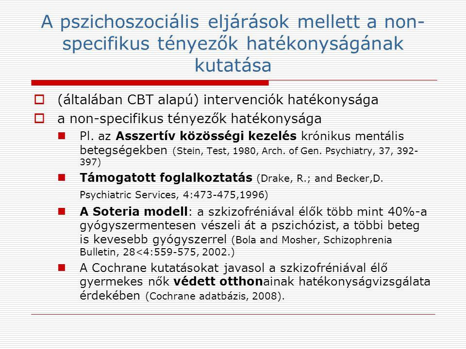 A pszichoszociális eljárások mellett a non-specifikus tényezők hatékonyságának kutatása