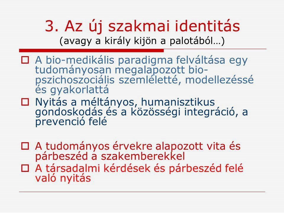 3. Az új szakmai identitás (avagy a király kijön a palotából…)
