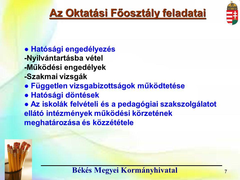 Az Oktatási Főosztály feladatai Békés Megyei Kormányhivatal