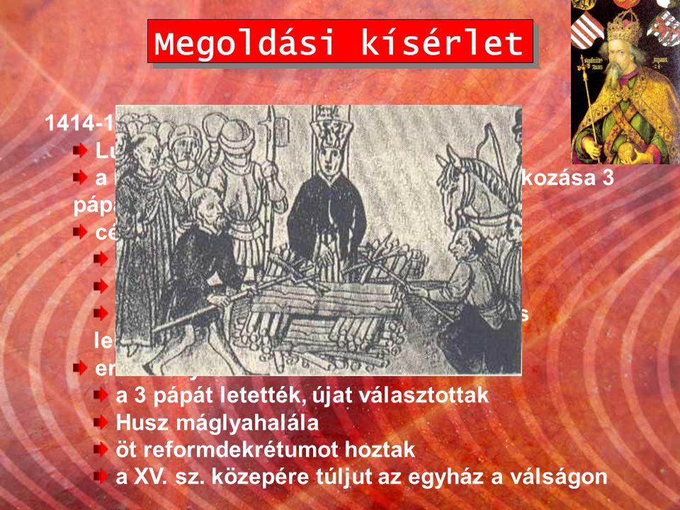 Megoldási kísérlet 1414-18. Konstanz – egyetemes zsinat