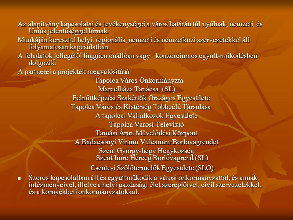 A partnerei a projektek megvalósításá Tapolca Város Önkormányzta