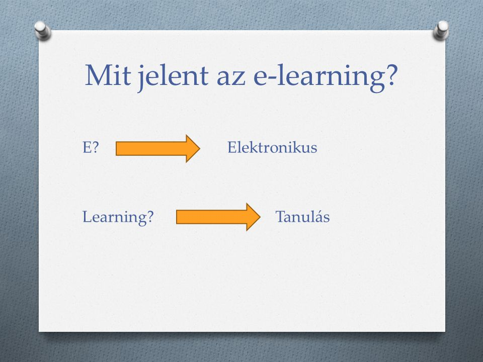 Mit jelent az e-learning