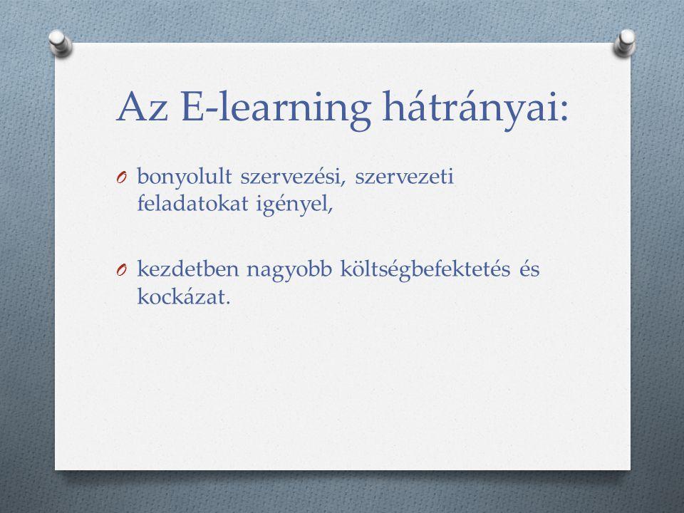 Az E-learning hátrányai: