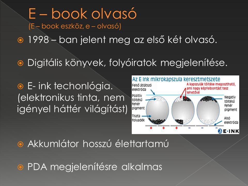 E – book olvasó (E – book eszköz, e – olvasó)