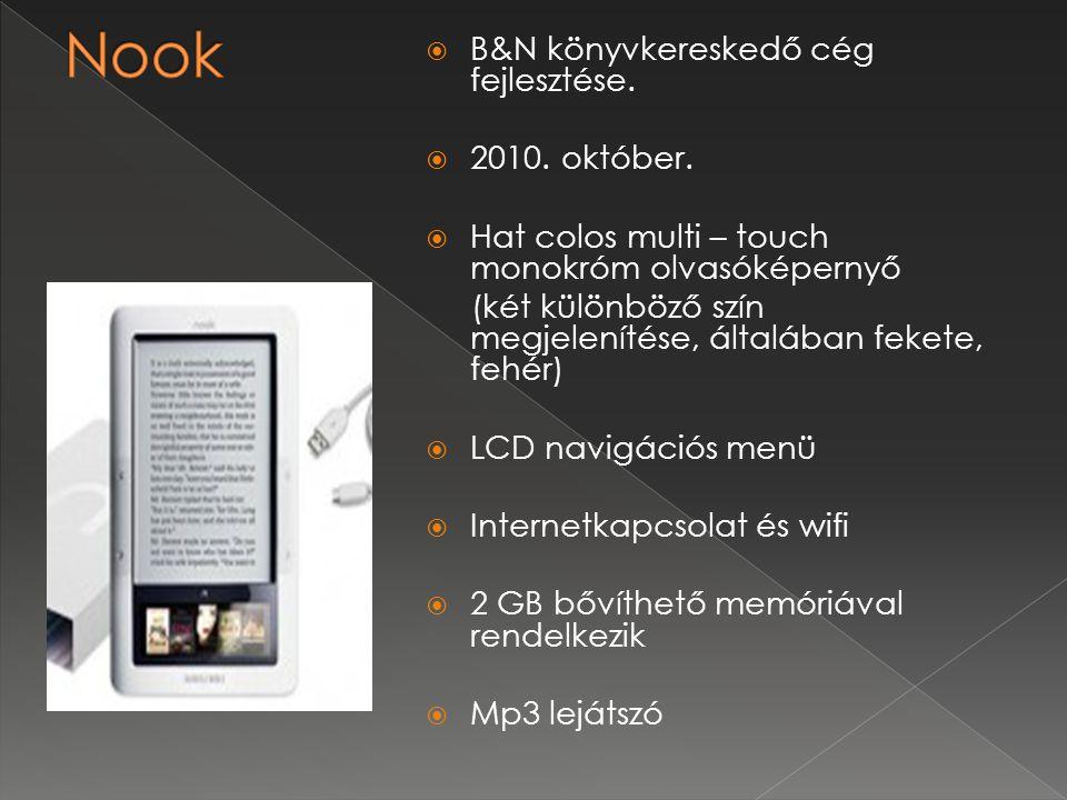 Nook B&N könyvkereskedő cég fejlesztése. 2010. október.