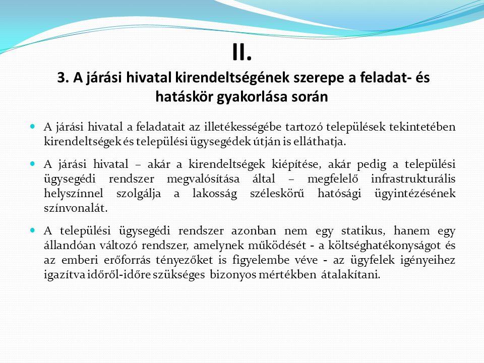 II. 3. A járási hivatal kirendeltségének szerepe a feladat- és hatáskör gyakorlása során