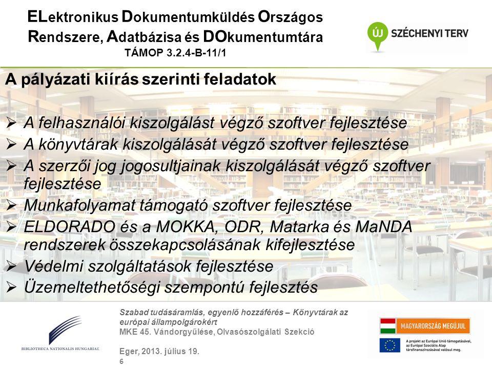ELektronikus Dokumentumküldés Országos Rendszere, Adatbázisa és DOkumentumtára TÁMOP 3.2.4-B-11/1