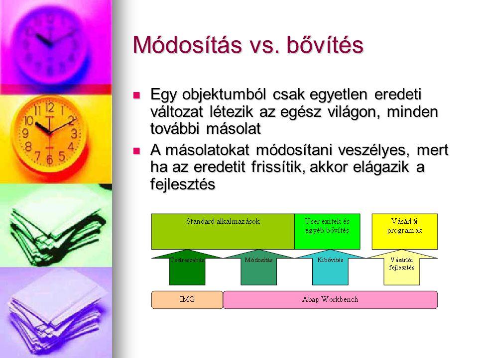 Módosítás vs. bővítés Egy objektumból csak egyetlen eredeti változat létezik az egész világon, minden további másolat.