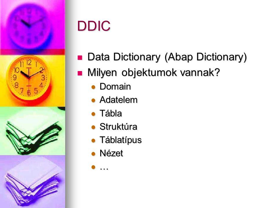 DDIC Data Dictionary (Abap Dictionary) Milyen objektumok vannak