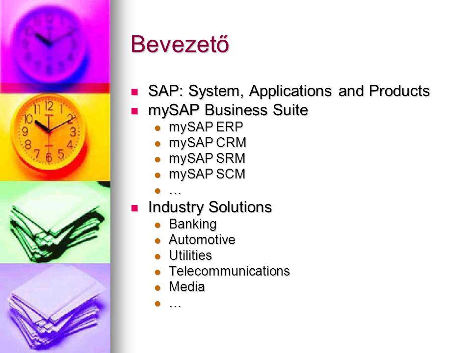 Bevezető SAP: System, Applications and Products mySAP Business Suite