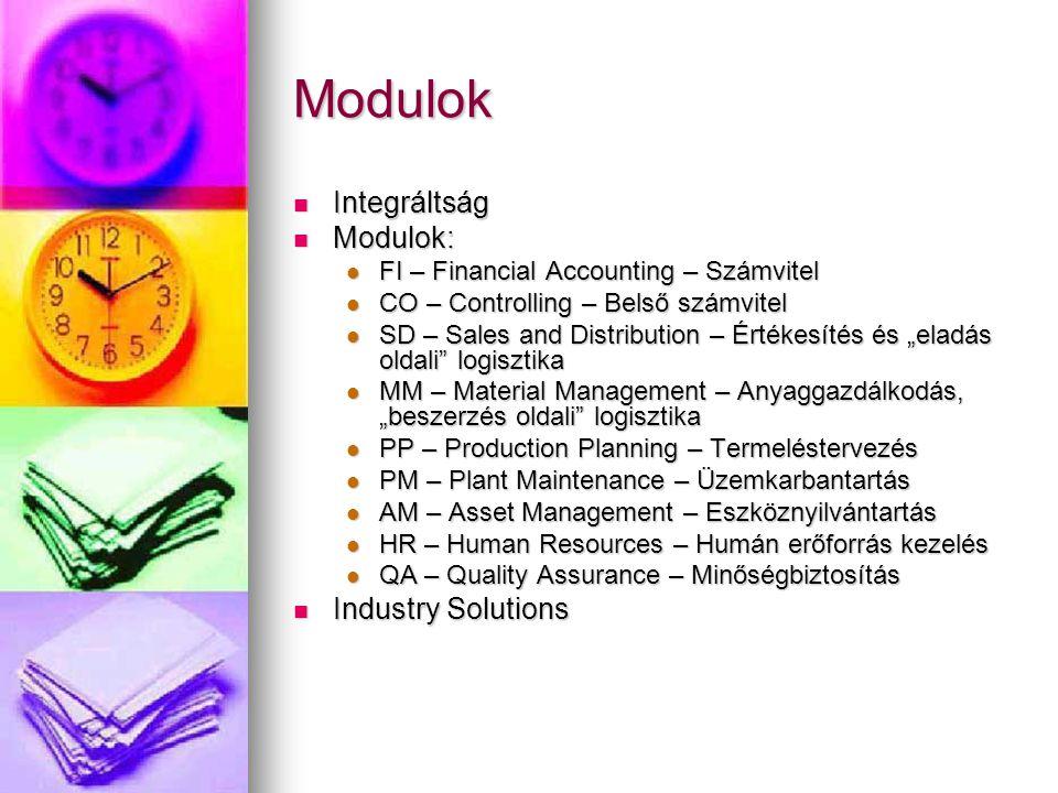Modulok Integráltság Modulok: Industry Solutions