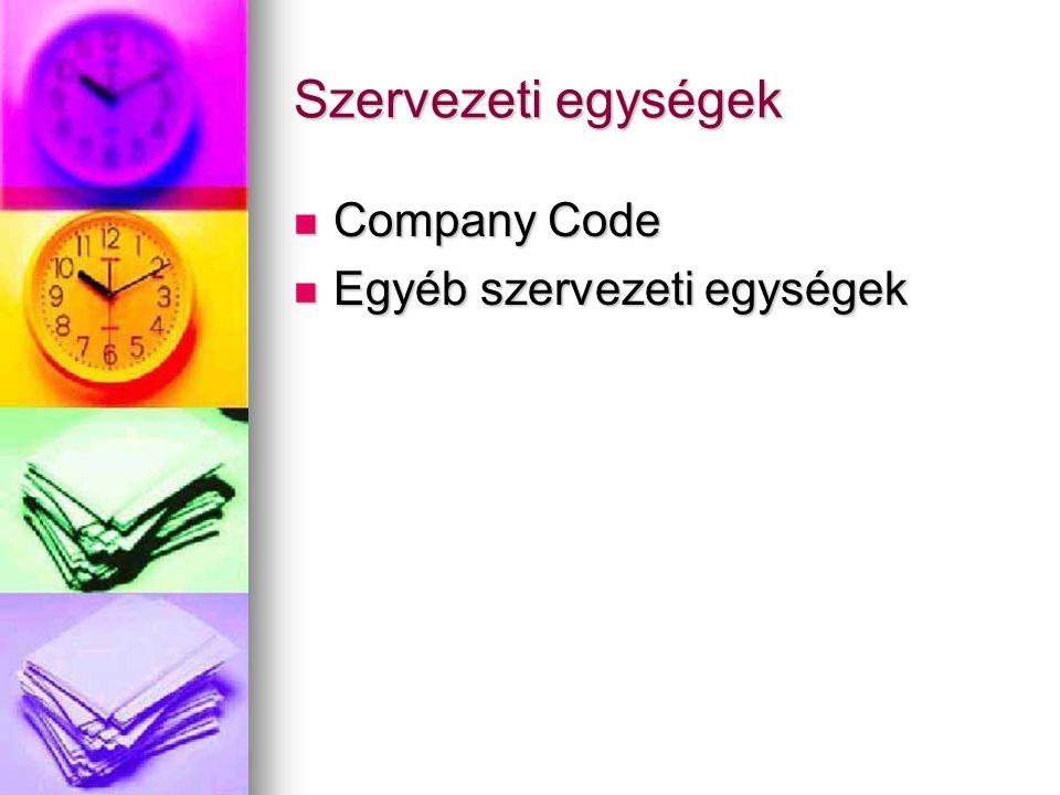 Szervezeti egységek Company Code Egyéb szervezeti egységek