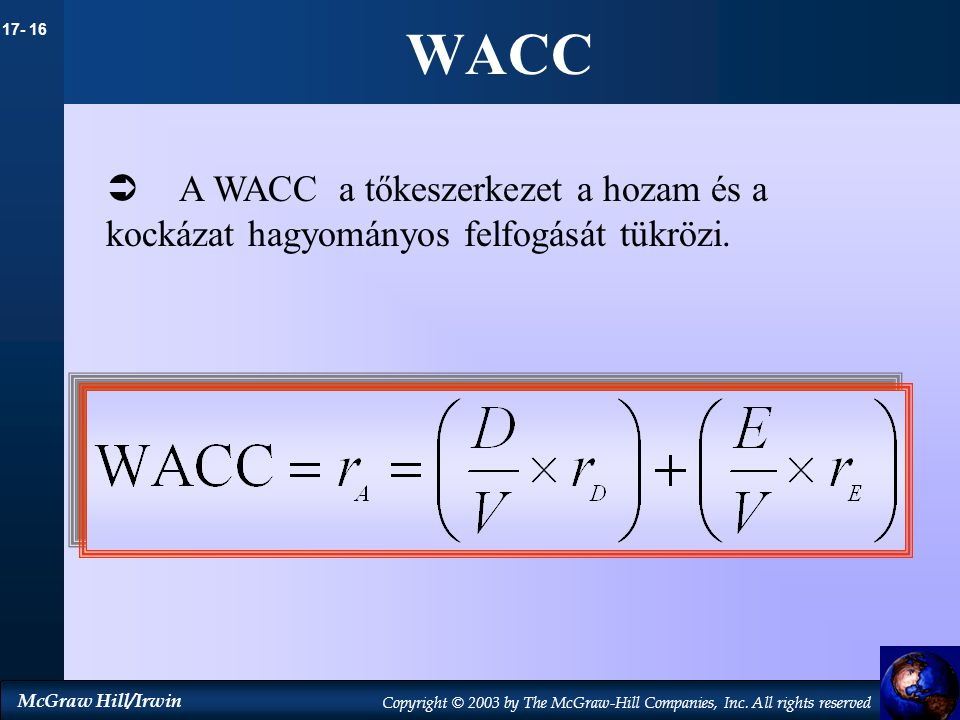 WACC A WACC a tőkeszerkezet a hozam és a kockázat hagyományos felfogását tükrözi.