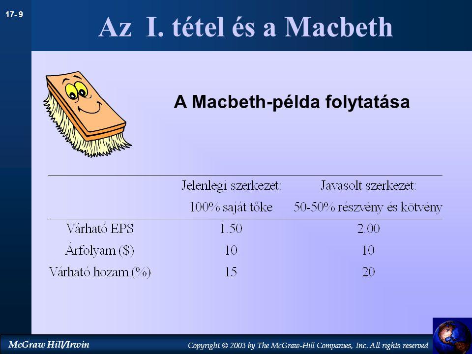 Az I. tétel és a Macbeth A Macbeth-példa folytatása