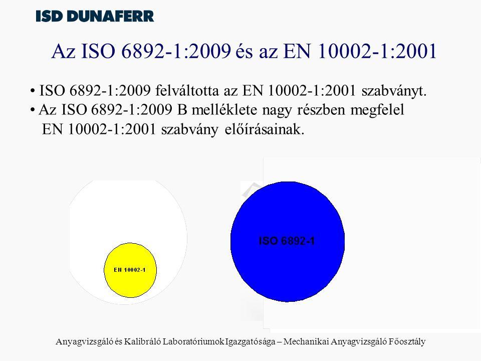 Az ISO 6892-1:2009 és az EN 10002-1:2001 ISO 6892-1:2009 felváltotta az EN 10002-1:2001 szabványt.