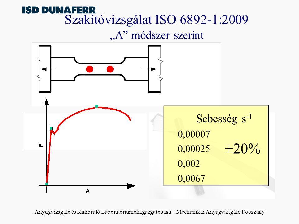 """Szakítóvizsgálat ISO 6892-1:2009 """"A módszer szerint"""
