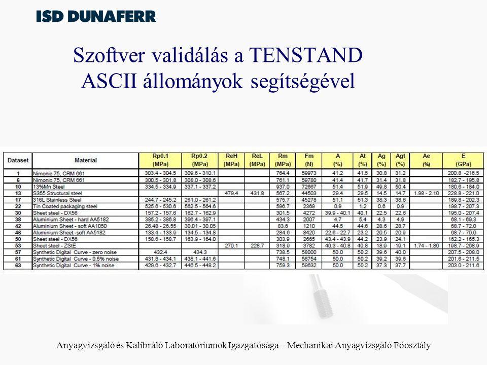 Szoftver validálás a TENSTAND ASCII állományok segítségével