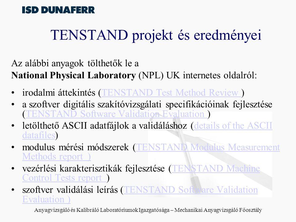 TENSTAND projekt és eredményei