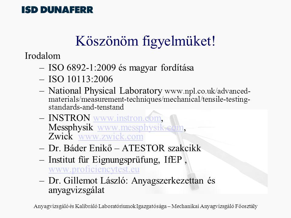 Köszönöm figyelmüket! Irodalom ISO 6892-1:2009 és magyar fordítása