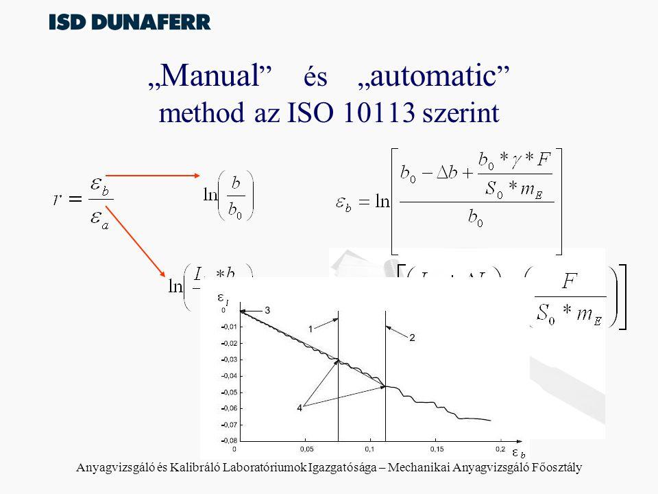 """""""Manual és """"automatic method az ISO 10113 szerint"""