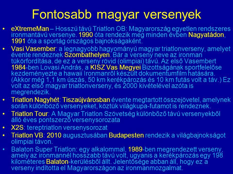Fontosabb magyar versenyek