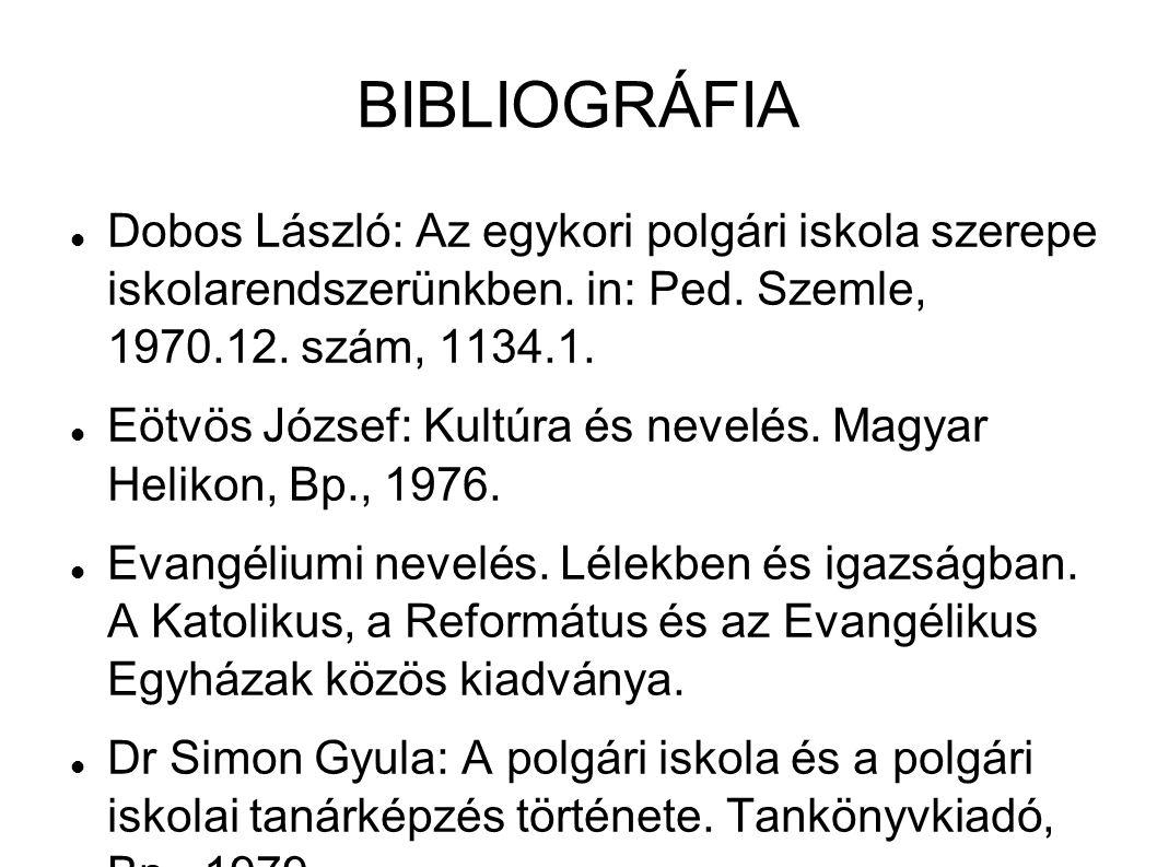 BIBLIOGRÁFIA Dobos László: Az egykori polgári iskola szerepe iskolarendszerünkben. in: Ped. Szemle, 1970.12. szám, 1134.1.