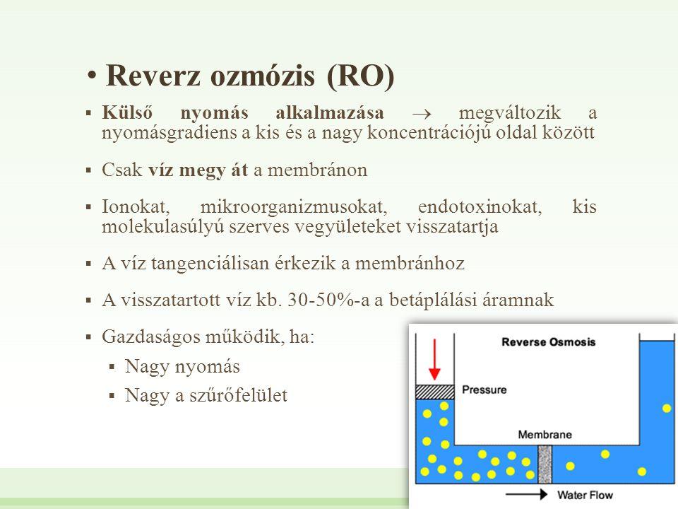 Reverz ozmózis (RO) Külső nyomás alkalmazása  megváltozik a nyomásgradiens a kis és a nagy koncentrációjú oldal között.