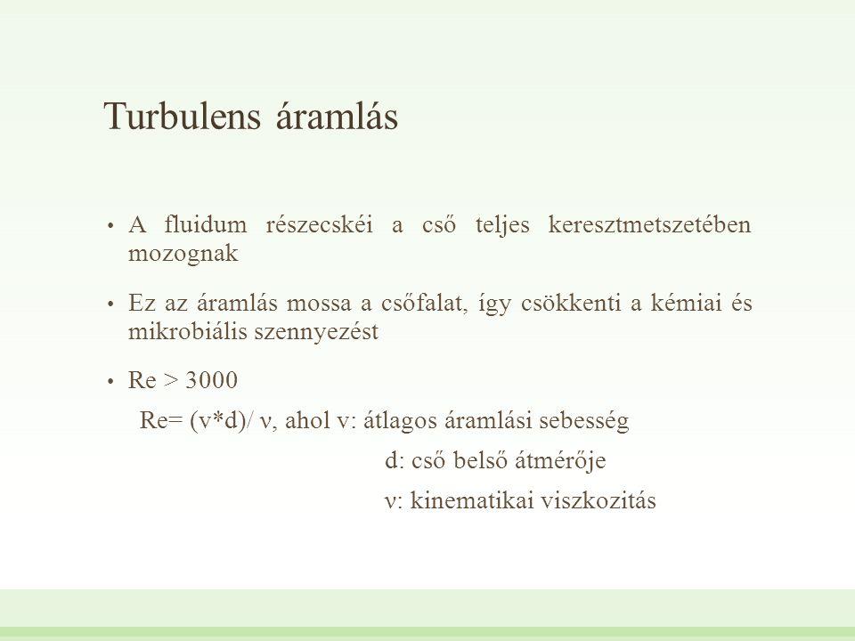 Turbulens áramlás A fluidum részecskéi a cső teljes keresztmetszetében mozognak.