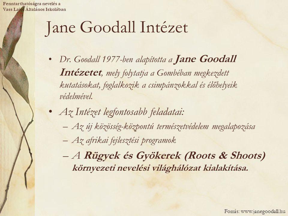 Jane Goodall Intézet Az Intézet legfontosabb feladatai: