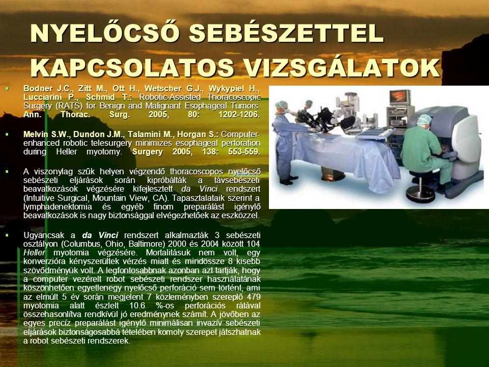 NYELŐCSŐ SEBÉSZETTEL KAPCSOLATOS VIZSGÁLATOK
