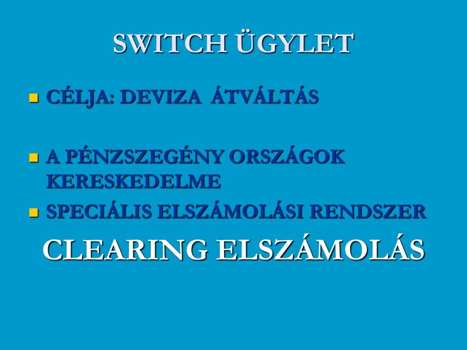 CLEARING ELSZÁMOLÁS SWITCH ÜGYLET CÉLJA: DEVIZA ÁTVÁLTÁS