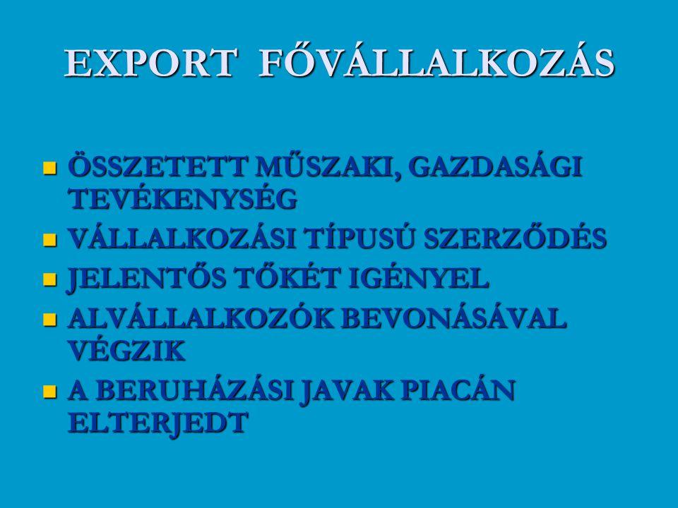EXPORT FŐVÁLLALKOZÁS ÖSSZETETT MŰSZAKI, GAZDASÁGI TEVÉKENYSÉG