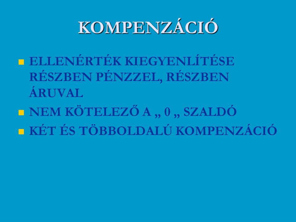 KOMPENZÁCIÓ ELLENÉRTÉK KIEGYENLÍTÉSE RÉSZBEN PÉNZZEL, RÉSZBEN ÁRUVAL
