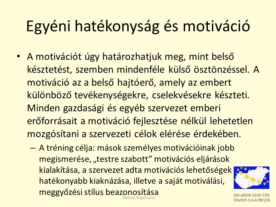 Egyéni hatékonyság és motiváció