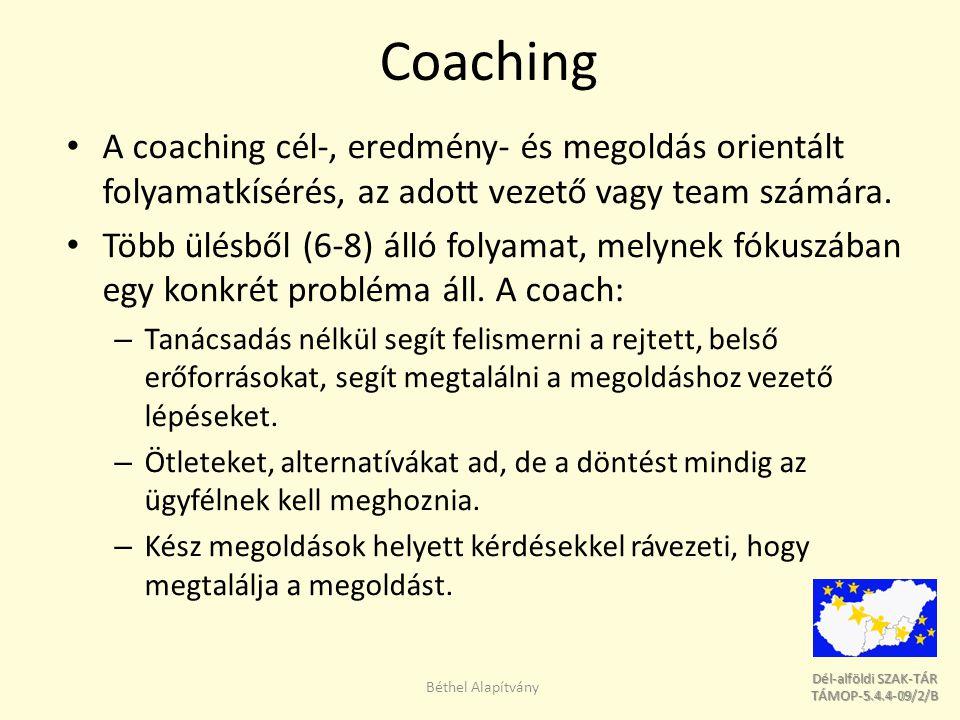 Coaching A coaching cél-, eredmény- és megoldás orientált folyamatkísérés, az adott vezető vagy team számára.